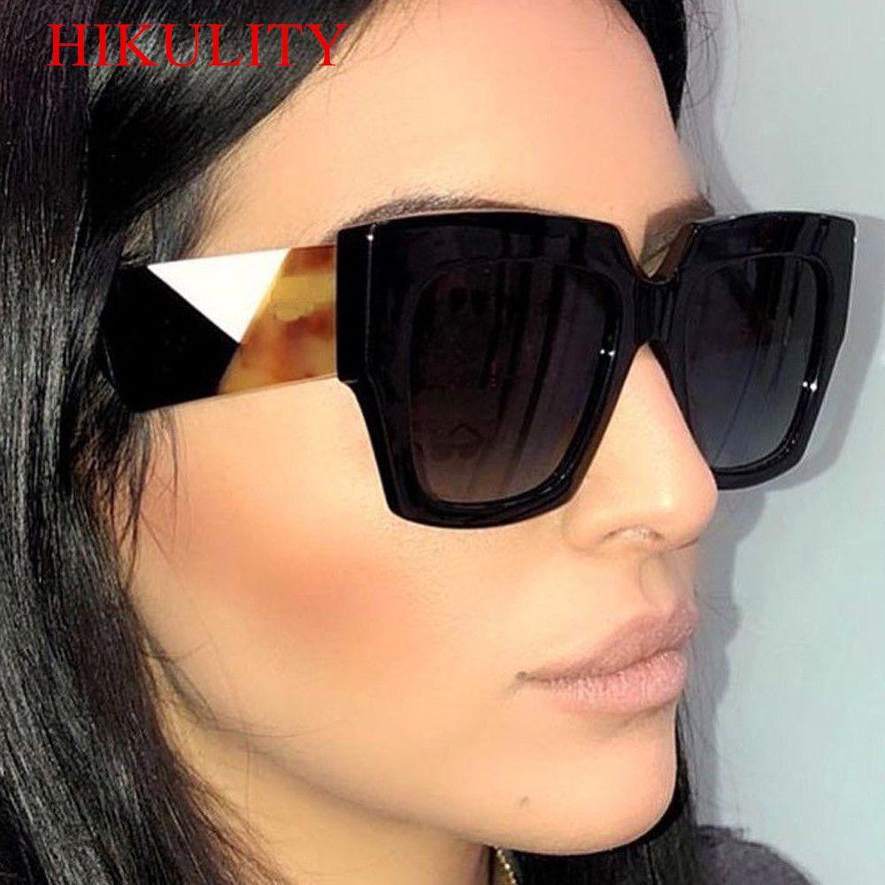 Acheter Big Frame Square Marque Lunettes De Soleil Femmes Hommes Noir  Fashion Eyewear Femelle 2018 Nouvelles Grandient Shades Lunettes De Soleil  Oculos De ... ed36b28c1e28