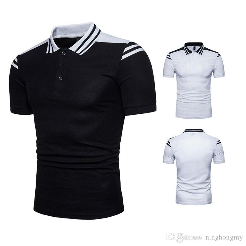 c133e538ce1 2019 Summer Lapel Polo Shirt Men S Short Sleeve Casual Black White  Stitching Shirts Slim Fit Polo Homme Cotton Mens Polos Camisa From  Ninghongmy