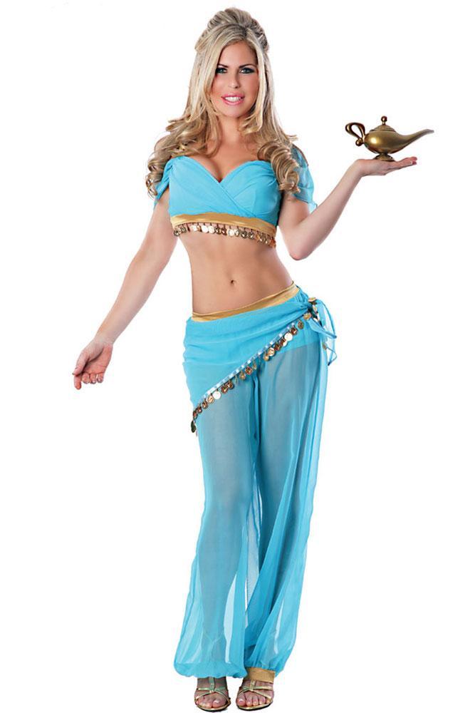bc67f26c7 Compre 2018 Mujeres Adultas Genie Jasmine Aladdin Princesa Traje De  Disfraces De Halloween Sexy Arabian Belly Dancer Disfraces Árabe 8952 A   30.37 Del ...