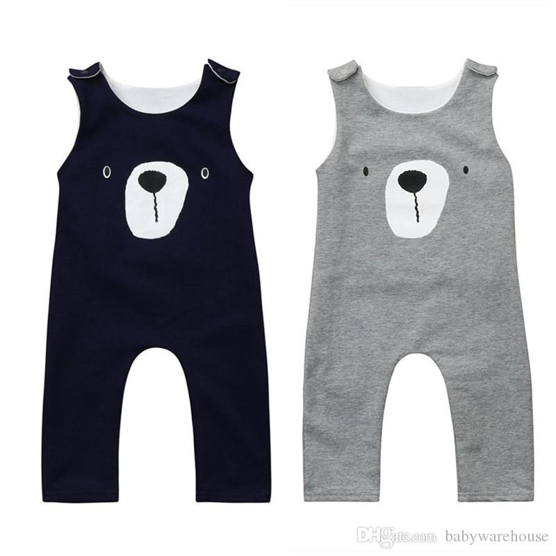 817de29ca 2019 2018 Baby Clothes Sleeveless Bear Jumpsuits Casual Navy Blue ...