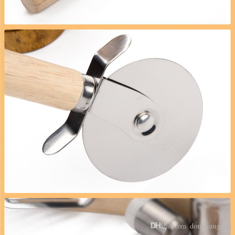 Cortadores de pizza Ruedas para pizza de acero inoxidable con mango de madera Cuchillo para pizza Pastas Pasta Pasta arrugadora Herramientas de cocina redondas wn425
