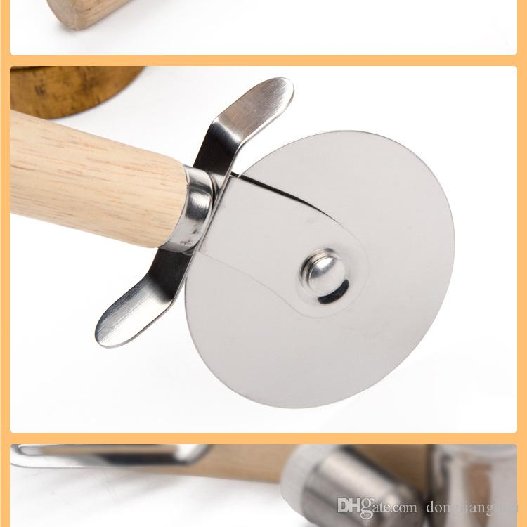 Pizza Cutters Stainless Steel Pizza Wheels With Wooden Handle Pizza Knife Pastry Pasta Dough Crimper Round Kitchen Tools wn425