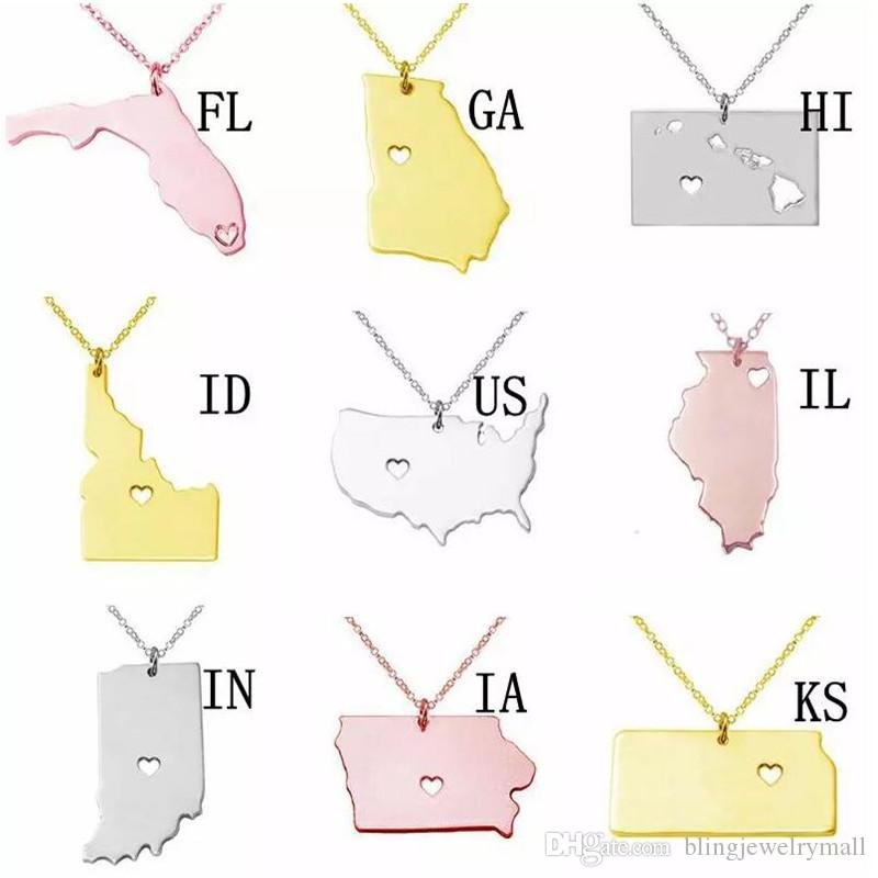 USA 50 States Map Necklace With Heart Geography Pendant Stainless Steel Necklace Jewelry Gift Necklace