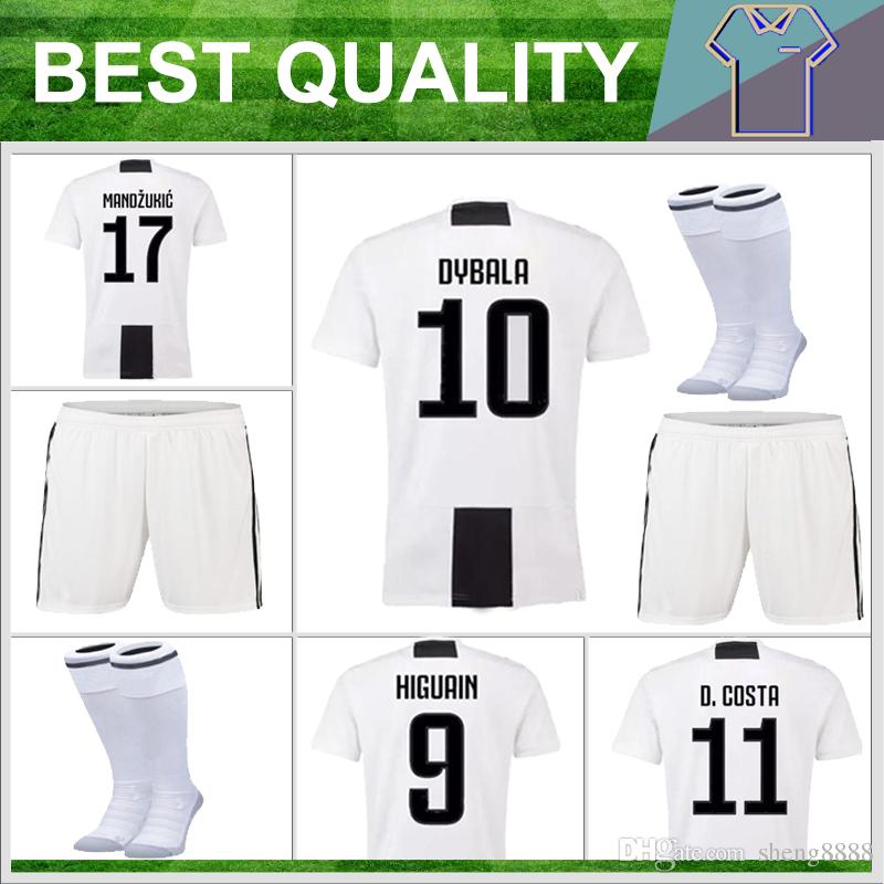 quality design 73c66 67c56 1819 KIDS soccer Jersey Kit DYBALA Juventusing Home shirt 18 19 HIGUAIN  MANDZUKIC KHEDIRA D. COSTA Children Football wear