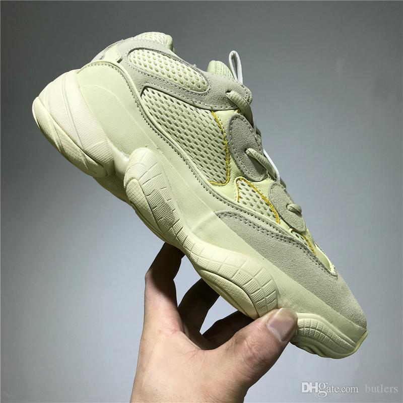 new products 0908a 7b453 Hot Sale Kanye West Desert Rat 500 Super Moon Yellow Running Shoes Utility  Black Blush Men s shoes Sport Jogging Sneakers trainer