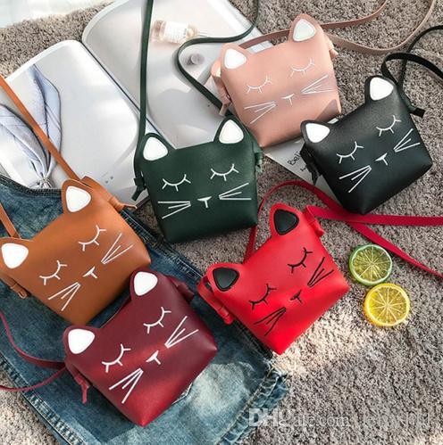 4520b64ae011 Children Cartoon Handbags Mini Cute Cat Face Bag Girls Lovely ...
