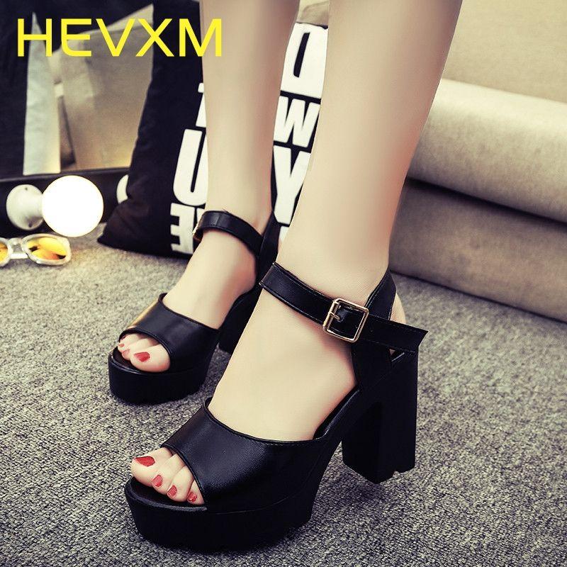 6cb7d9a09 Compre HEVXM Nuevos Zapatos De Mujer Primavera Verano Señoras Calzado  Casual Tacones Gruesos Plataforma Sandalias Mujer Mujer Zapatos De Tacón  Alto 10 Cm ...