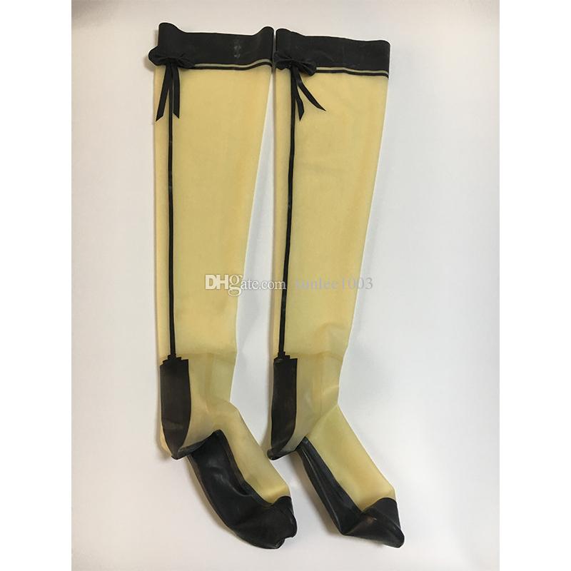 2018 mujeres hechas a mano largas látex transparentes apretadas medias empalmadas bow-nots calcetines fetiche con los arcos Zentai para Halloween