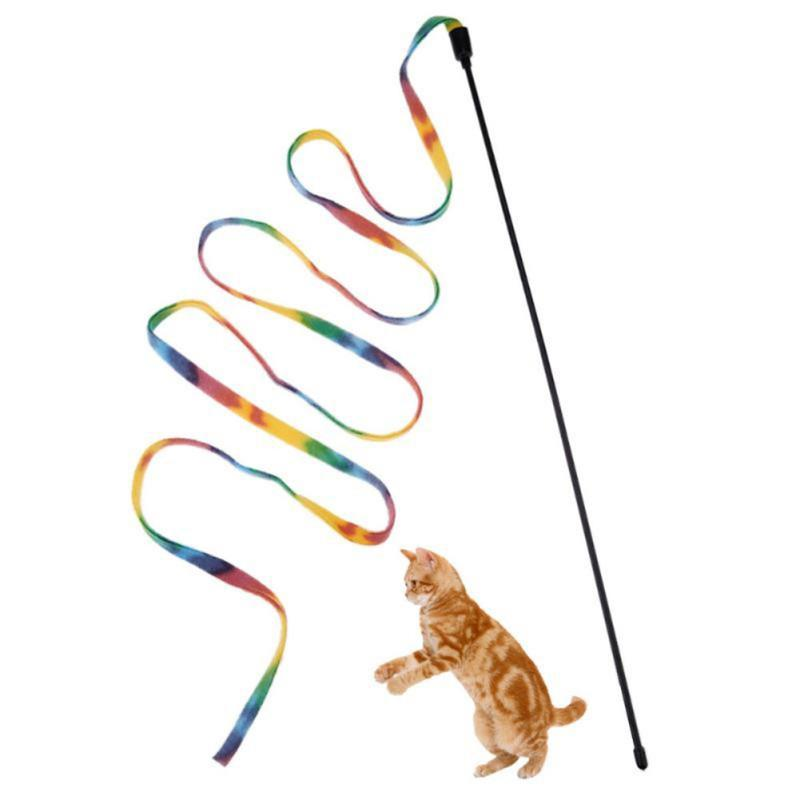2018 Cat Toys Pet Rainbow Stripe Cloth Feather Tease Cats Rod Interactive Toys for Cats Interesting Gift Pet Cats Supplies