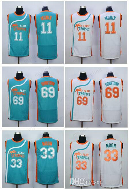 2019 69 Downtown 33 Jackie Moon Jersey Men Shirt Flint Tropics Semi Pro  Movie 7 Coffee Black Uniforms 11 Ed Monix Team Color Green White From  Mylink 4fc319b58