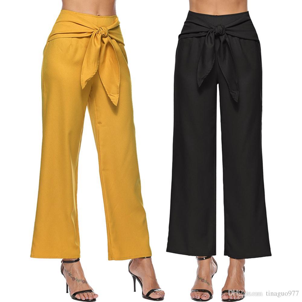 1e0582c8d96 2019 Wide Leg Women Pants High Waist Bow Tie Casual Loose Flowy Capri Pants  Black Yellow S XL From Tinaguo977