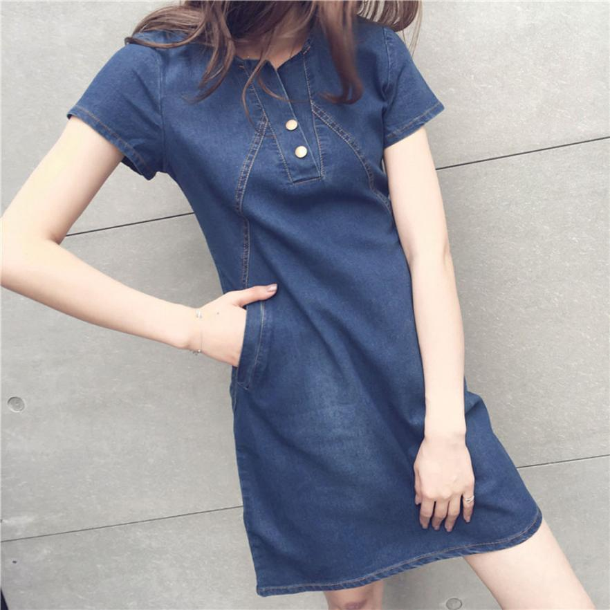91edea1350c FEITONG Women Dress Plus Size Korean Casual Denim Ready Dinner Sexy Dress  Midi Dresses 2018 NEW Lady Slim Dress Jeans Evening Wear Dresses Cute  Cocktail ...