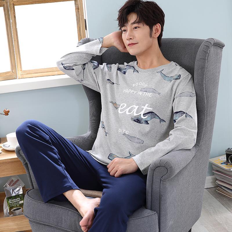 558a75983534 New Arrive 2018 Men Pajamas Long Sleeve RN-9 Spring Autumn Winter ...