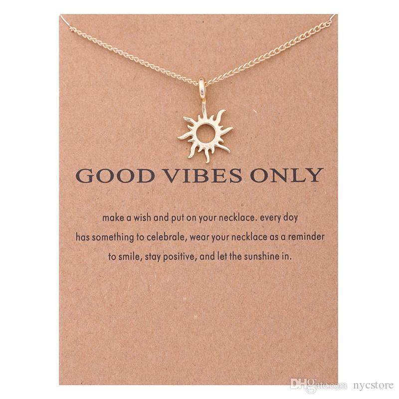 53bc8792236cdf Wholesale Fashion Gold Color Good Vibes Only Sun Necklaces & Pendants For  Women Jewelry Pendant Necklaces Diamond Pendant From Nycstore, $0.61|  DHgate.Com