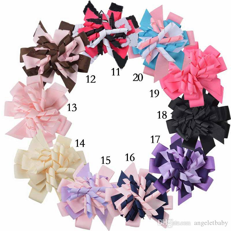 20pcs girl M2MG Hairbows Layered Korker curly ribbon Hair Bows clips Boutique Kids corker Hair bands Hairclips Headwear accessories PD014