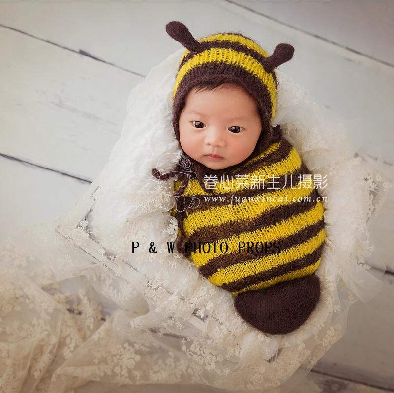 Handmade Knit Newborn Baby Bee Pattern Hat And Sleep Sack Lovely