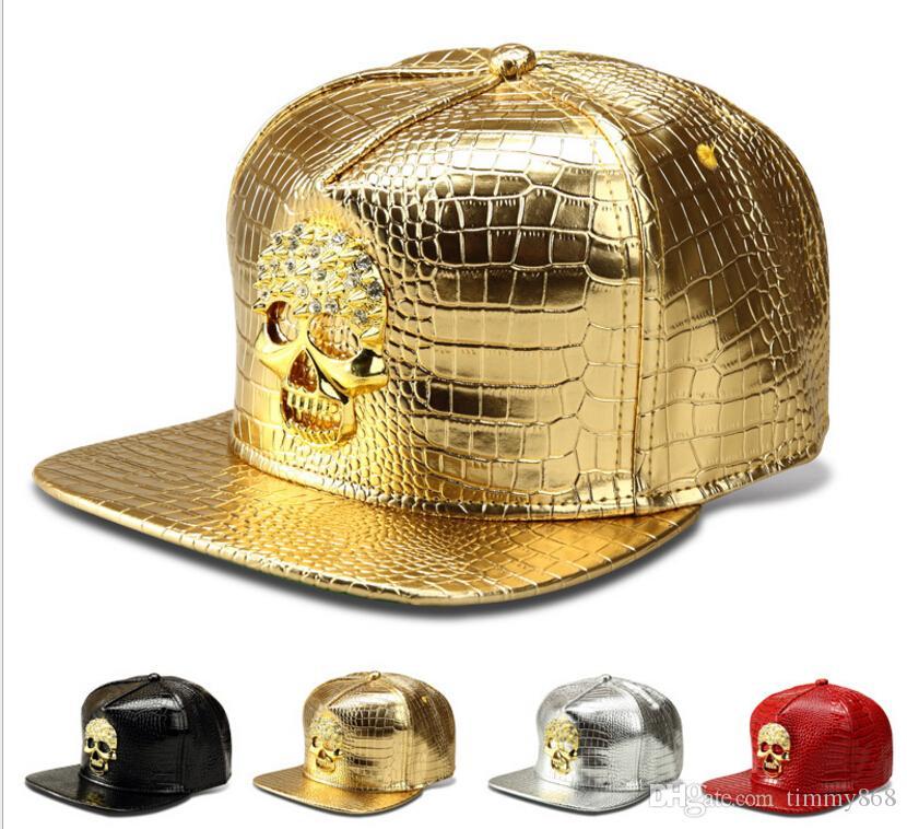Haute Qualité 2018 Star PU Chapeaux Crâne Snapback Or Ball Casquettes Hip Hop Baseball Chapeaux Populaire Hommes Sport Réglable Chapeaux DJ Cadeau