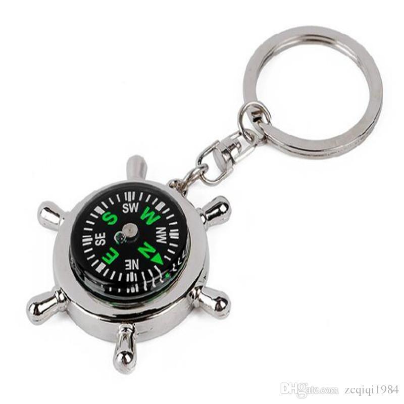 Novedad Compass llavero para la moda del coche llaveros anillos de aleación de colgar encantos náutico Helm llavero creativo multifunción accesorios