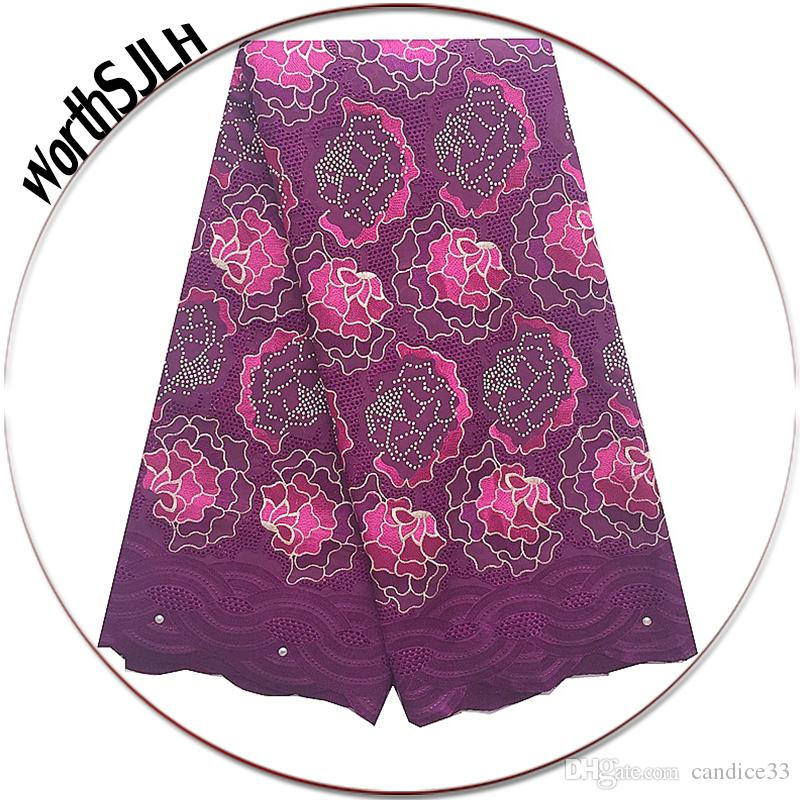 2018 Swiss Dry Lace Fabrics High Quality Cotton Lace Fabric Magenta Lace Fabric Peach Voile African Fabrics High Quality 2017