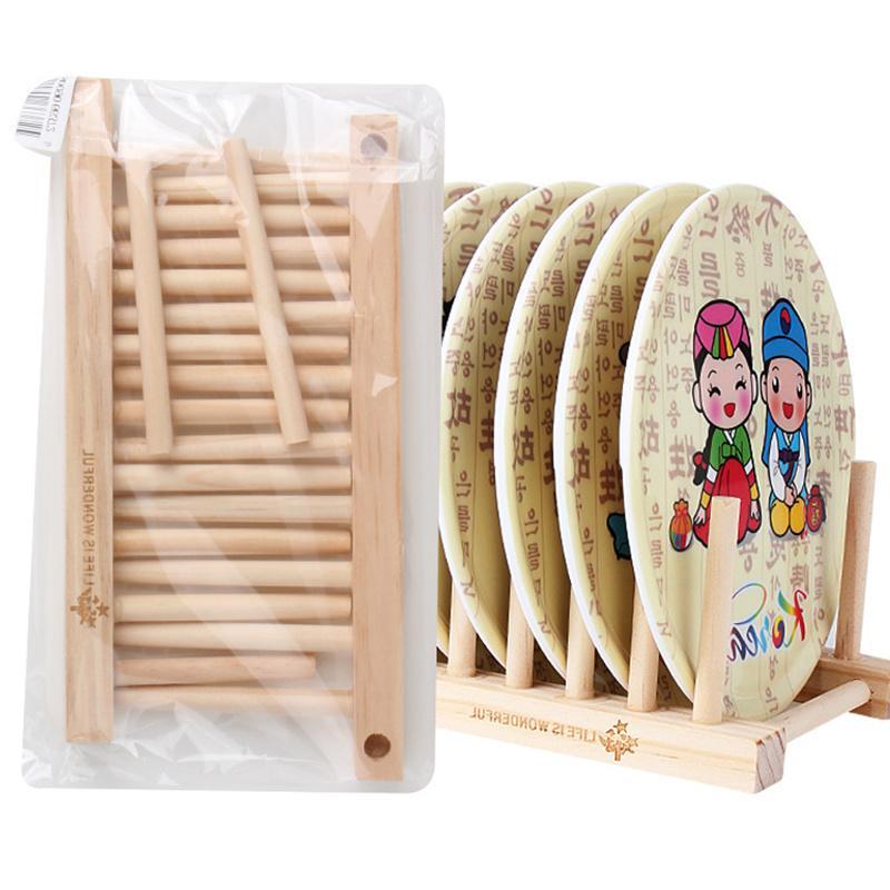 2018 Drainer Foldable Wooden Dish Rack Kitchen Storage Rack Plate ...
