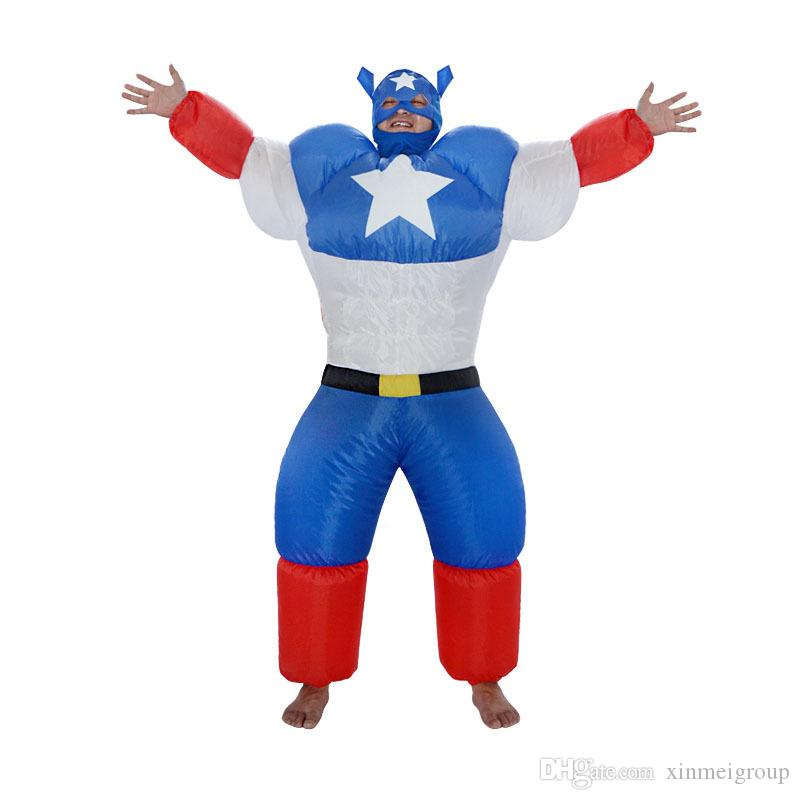 Captain America inflatable costume halloween for men suit inflatable Gangster carnival costume W650143