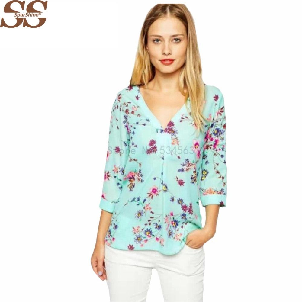 d552b1f8a Compre Blusas De Chifón De Diseño Superior Blusa Con Cuello En V De Manga 3/4  Blusa Estampada De Flores Elegante Camisa Suelta Informal Blusa Feminino  Blusa ...