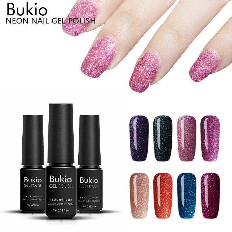 Bukio 7ml Shine Neon Nail Gel Polish New Nail Art Semi Permanent ...