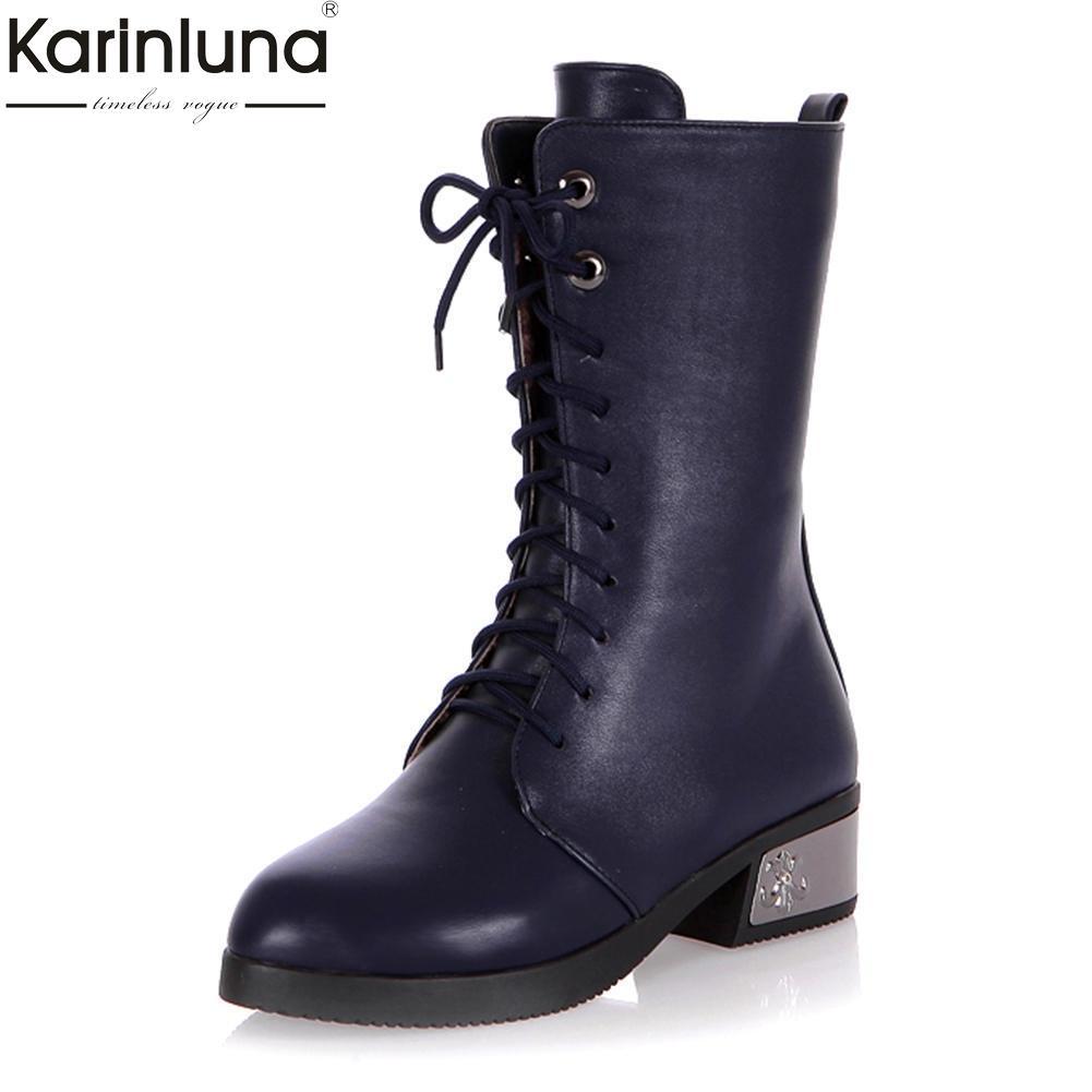 2eba6b0a Compre Karinluna 2018 Nueva Moda A La Venta Zapatos Al Por Mayor Botas De  Mujer Plataforma Con Cordones Negro Blanco Botas A Media Pierna Zapatos De  Mujer A ...