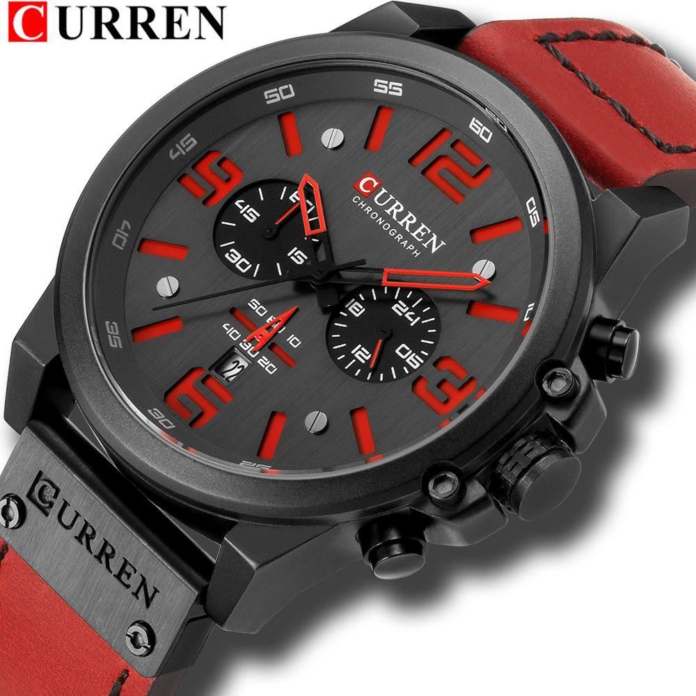 a659368fbd3 Compre Mens Relógios Curren Marca De Luxo Pulseira De Couro Esporte À Prova  D  Água Relógio De Quartzo Moda Masculina Data Relógio De Pulso Masculino  ...