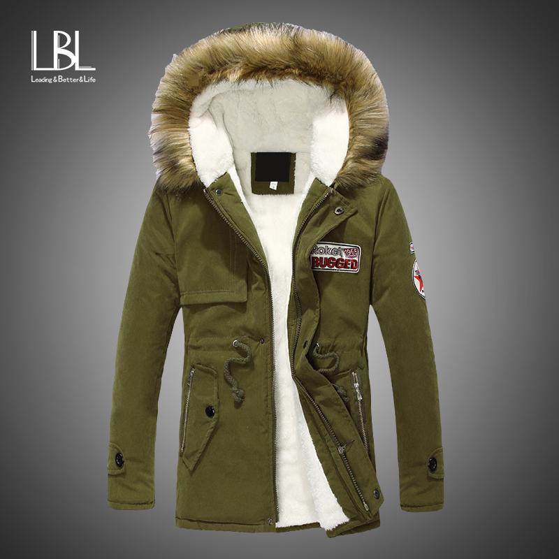 Parka Men Coats 2018 Winter Fleece Jackets Men Slim Thicken Fur