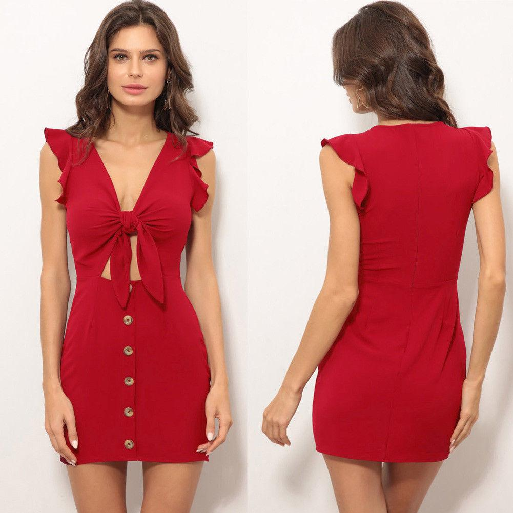 62e5977beb47e Women Sexy Bodycon Sleeveless Dress Evening Party Clubwear Short Mini Dress  Red Ruffles Elegant Short Dress Vestidos Club Dress Prom Dresses Online  From ...