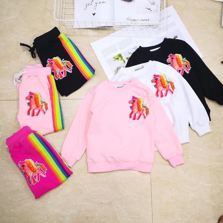 Children Suit Autumn Pony Sweater Twinset Boys Girls Clothing Sets