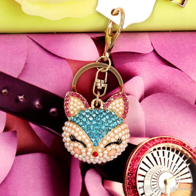 Artificial fox Keychain for Handbag Car Key Ring Cute Fox Inlay Simulated Pearl Pendant Key Chains Fox Keyring Crystal Keychains