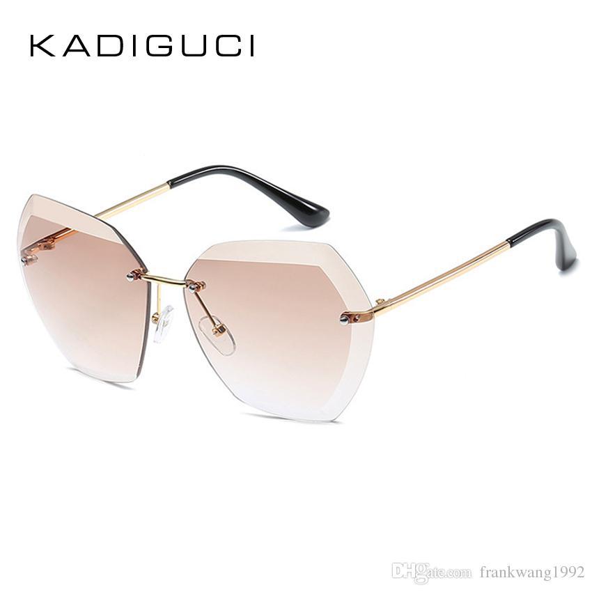 a19895b4b50b KADIGUCI 2018 New Fashion Rimless Sunglasses Women Men Candy Color Metal  Frame Brand Designer Pink Red HD Goggle For Ladies UV400 K0286 Designer  Eyeglasses ...