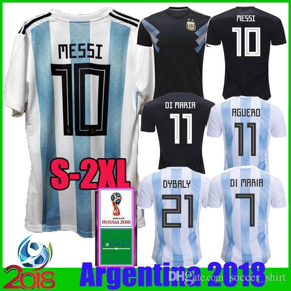 620b461de4 Compre 2018 Argentina Home Messi Dybala Di Maria Copa Do Mundo De Futebol  Camisas 18 19 Argentine Away Preto Icardi Aguero Higuain Camisa De Futebol  Camisas ...