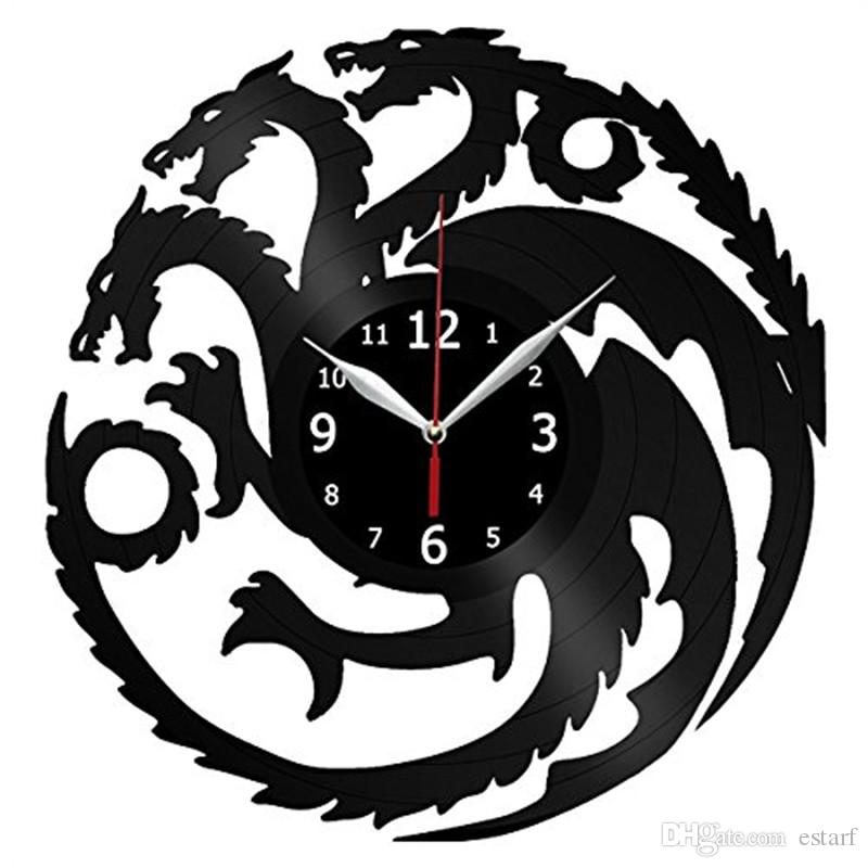 Game Of Thrones Personality Vinyl Wall Clock Modern Home Decor Creative  Gifts Living Room Office Wall Art Decoration Black Quartz Clock  Contemporary Kitchen ...