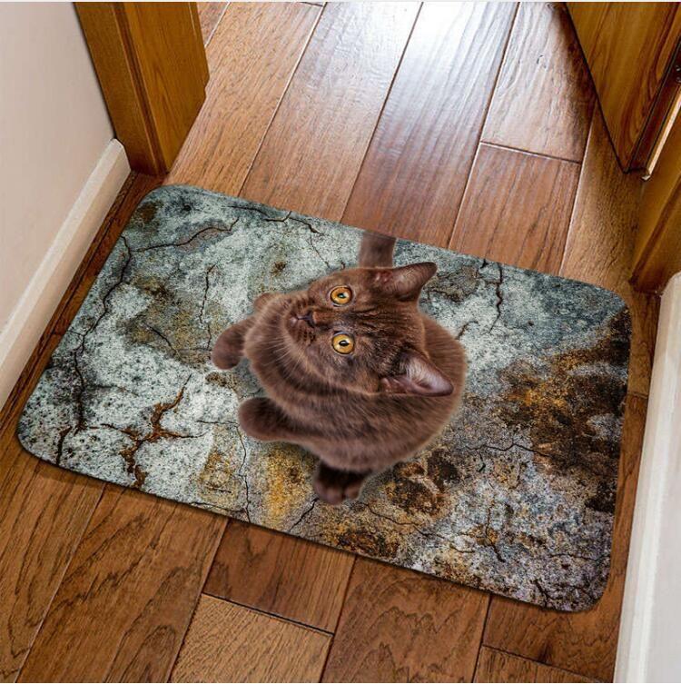 40cmx60cm 3d Dog And Cat Print Doormat Fashion Home Modern Hallway Floor Mat Cartoon Children Room 5 Style Tapis Alfombra Mohawk Carpets Uk Carpet
