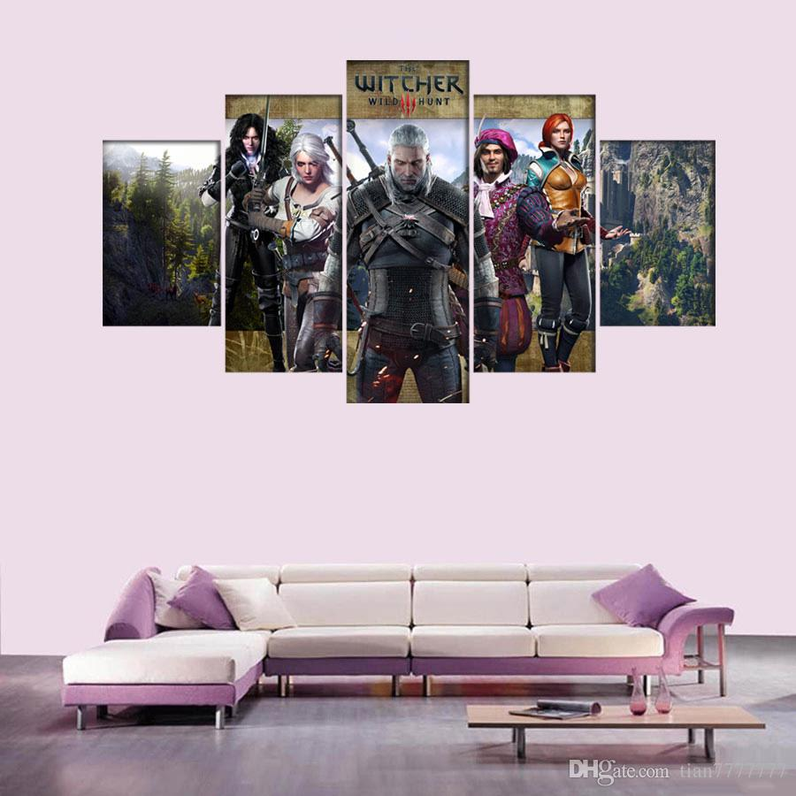 New Witcher Game Character Poster Painting 5 Panel No Frame Wall Art Group Picture For Bedroom Home Decor Gift Painting For Children