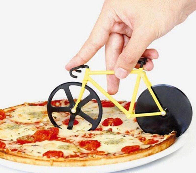 es de Alta Calidad Bicicleta Cortador de Pizza Doble Acero Inoxidable Cortador de Pizza para Pizza herramientas de cocina Creativas