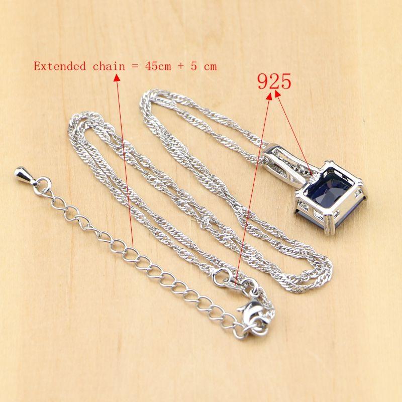 925 Silver Party Jewelry Blue Zircon White CZ Jewelry Sets For Women Earrings/Pendant/Necklace/Rings/Bracelet