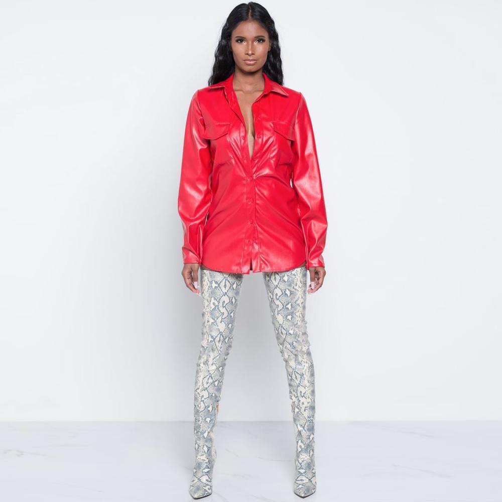 Zarif PU Deri Bluz Gömlek Turn-Aşağı Yaka Uzun Kollu Gömlek Casual Cepler Kırmızı Siyah Kadınlar Bluzlar Blusas Tops Femininas
