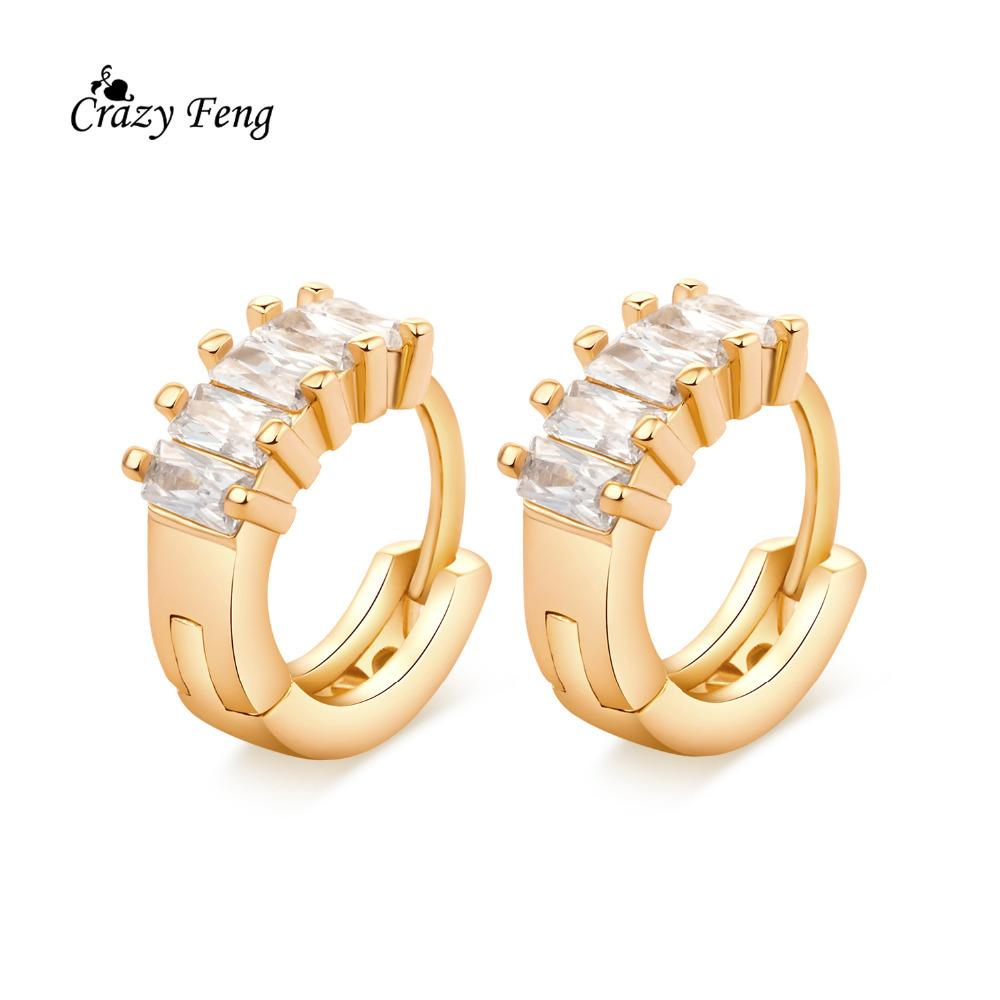 2019 Luxury AAA CZ Crystal Stone Jewelry Earrings Gold Color Round Shape Hoop  Earring Fashion Ear Jewerly For Women From Htiancai 1437d75f2232