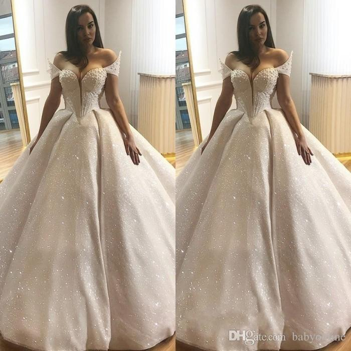 8d881dc6e6c Ball Gown Wedding Dresses 2018 Bling Sequins Beaded Off The Shoulder Bridal  Church Wedding Gowns Sexy Backless Saudi Arabic Dubai Formal Outdoor Wedding  ...