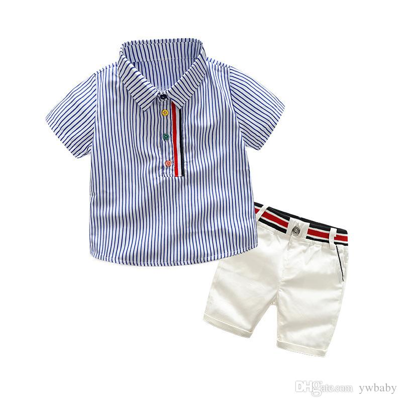 e0080e8ee Children Summer Outfits Baby Boy Clothes Striped T-shirts with ...