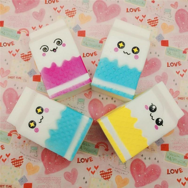 Colorful kawaii smile Squishy milk box Squeeze fun Soft Slow Rising stress reliever jumbo Squishes PU Cute Anti stress toys