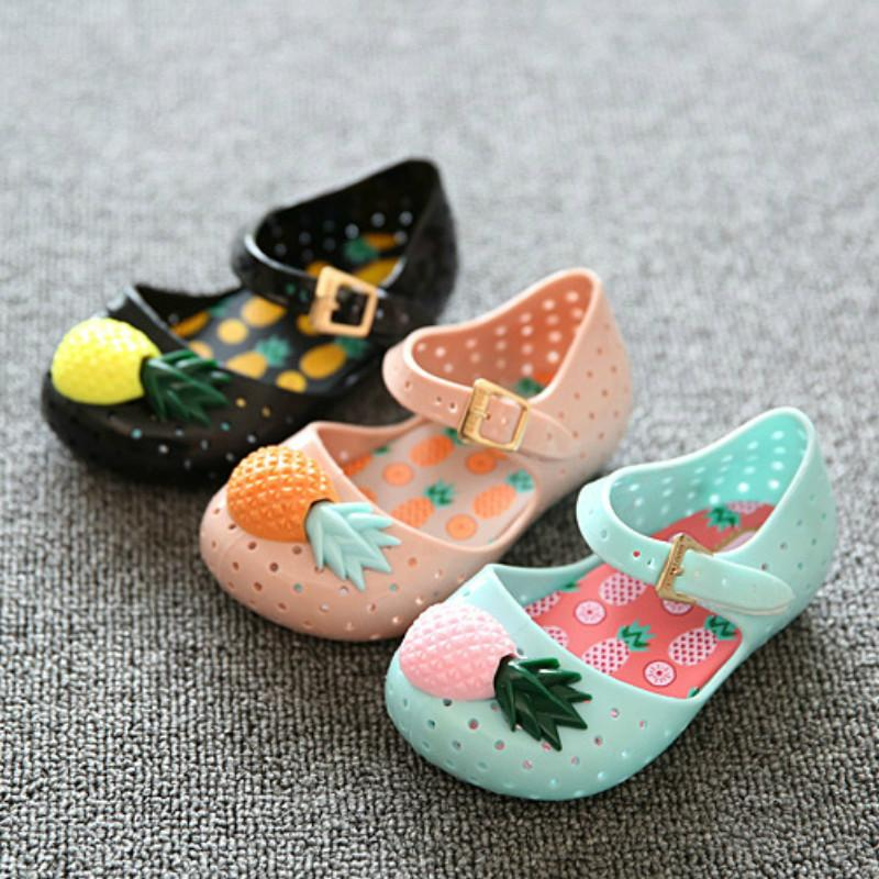 Mini Sed Girl Sandals Hot Sale Plain Rain Boot Baby Summer Jelly Pineapple Fruit Children Toddler Kids Fashion Girls Shoes Zapatos
