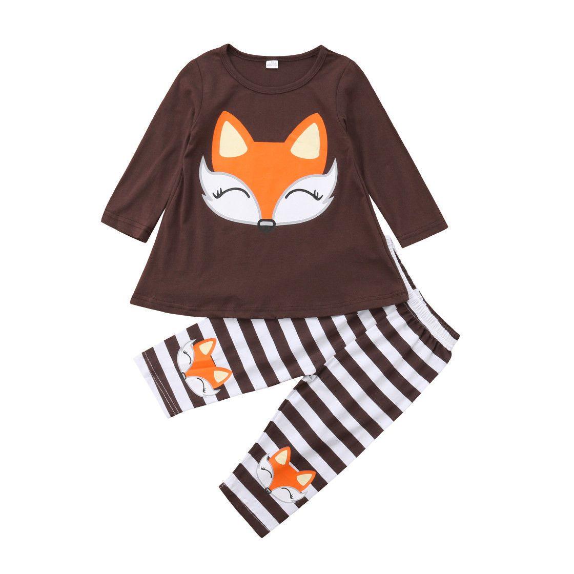 afc3bd81bd83 2019 Newborn Kids Baby Girl Long Sleeve Fox Tops Dress Striped Pants ...