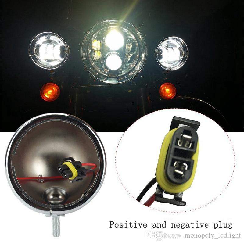4.5 inch fog light Auxiliary Spot Fog Passing Light Lamp with 4.5 inch Housing bucket bracket mount for Harley Touring Electra Glide Chrome