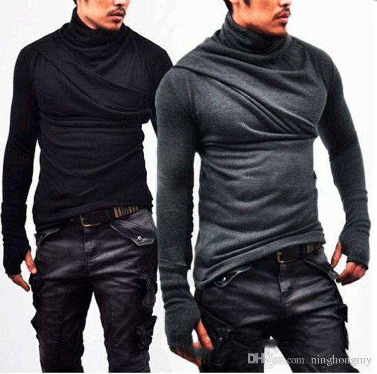 Camicia a maniche lunghe collo coreano moda colletto a maniche lunghe da uomo Camicia a maniche lunghe da uomo Slim Fit T Shirt Maglia a maniche lunghe nuovo design uomo