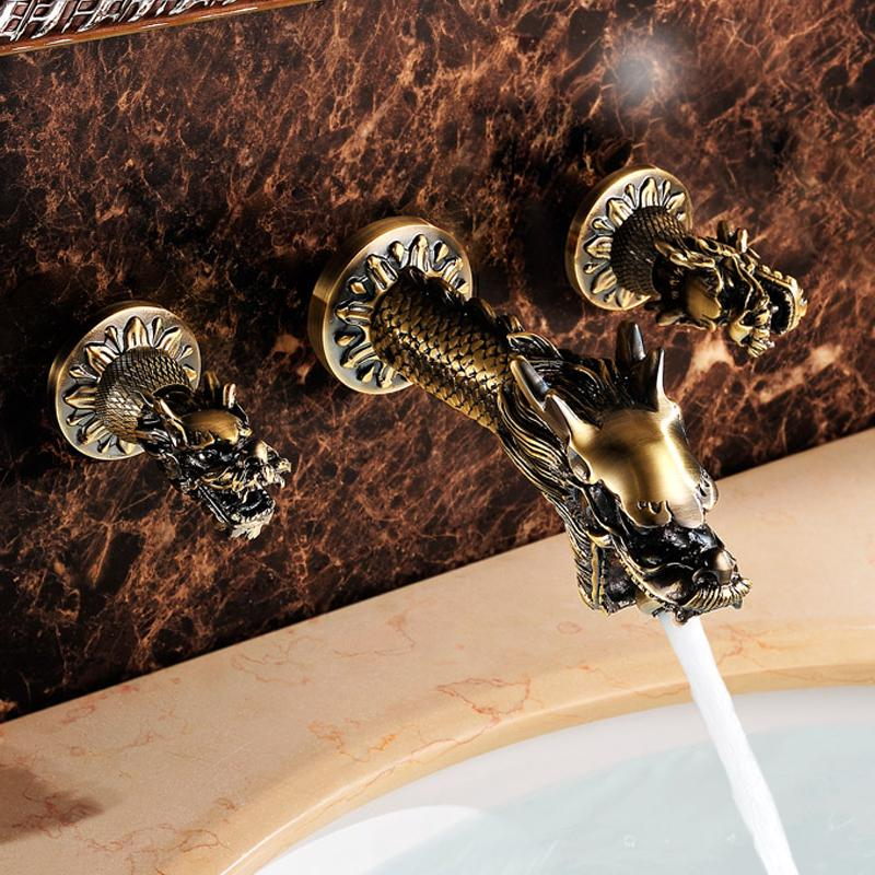 Antique Dragon Bathroom Sink Faucets Brass Art Leading Wall Mounted Basin Faucet Hot Cold Water Tap Luxury Beast Taps